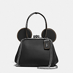 MICKEY KISSLOCK BAG IN GLOVETANNED LEATHER - f37980 - DARK GUNMETAL/BLACK