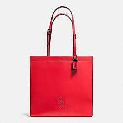 MICKEY SKINNY TOTE IN GLOVETANNED LEATHER - f37981 - DARK GUNMETAL/1941 RED