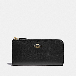 L-ZIP WALLET - F37985 - BLACK/IMITATION GOLD