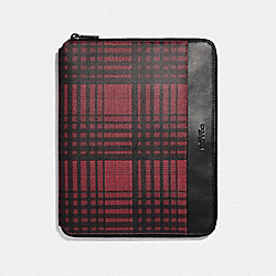 COACH F37989 - TECH CASE WITH TWILL PLAID PRINT RED MULTI/BLACK ANTIQUE NICKEL