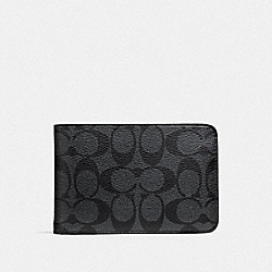 SLIM TRAVEL WALLET IN SIGNATURE CANVAS - F37990 - CHARCOAL/BLACK/BLACK ANTIQUE NICKEL