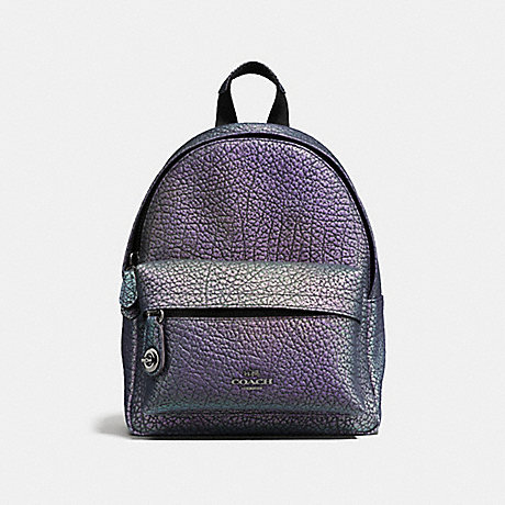 3d4fdaaaa3 COACH f37999 MINI CAMPUS BACKPACK IN HOLOGRAM LEATHER DARK GUNMETAL HOLOGRAM
