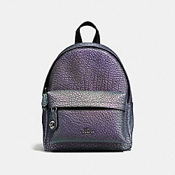 COACH F37999 Mini Campus Backpack In Hologram Leather DARK GUNMETAL/HOLOGRAM