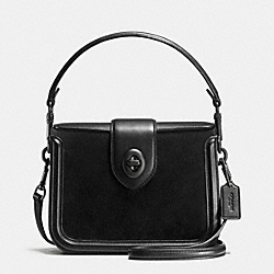 PAGE CROSSBODY IN MIXED LEATHER - f38008 - BLACK/BLACK