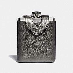 FLASK WITH BASEBALL STITCH - COACH F38012 - METALLIC GUNMETAL/BLACK ANTIQUE NICKEL