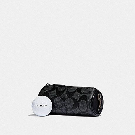 COACH F38013 GOLF BALL SET IN SIGNATURE CANVAS CHARCOAL/BLACK/BLACK ANTIQUE NICKEL