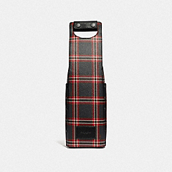 WINE CARRIER WITH SCRIPT PLAID PRINT - F38014 - MIDNIGHT NAVY MULTI/BLACK ANTIQUE NICKEL