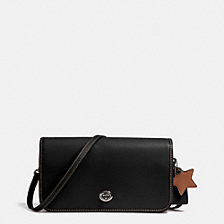 TURNLOCK CROSSBODY IN GLOVETANNED LEATHER - f38015 - DARK GUNMETAL/BLACK/SADDLE