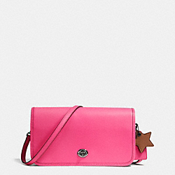 COACH F38015 - TURNLOCK CROSSBODY IN GLOVETANNED LEATHER DARK GUNMETAL/DAHLIA/SADDLE