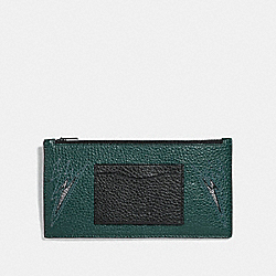 COACH F38020 - ZIP PHONE WALLET WITH CUT OUTS FOREST/BLACK ANTIQUE NICKEL