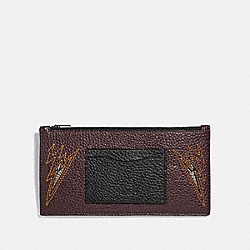 COACH F38020 - ZIP PHONE WALLET WITH CUT OUTS OXBLOOD/BLACK ANTIQUE NICKEL