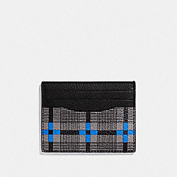 SLIM ID CARD CASE WITH PLUS PLAID PRINT - F38024 - GREY MULTI/BLACK ANTIQUE NICKEL