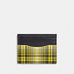 COACH F38025 Slim Id Card Case With Soft Plaid Print NEON YELLOW MULTI/BLACK ANTIQUE NICKEL