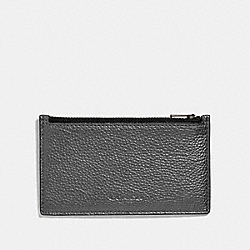 COACH F38026 - ZIP CARD CASE METALLIC GUNMETAL/BLACK ANTIQUE NICKEL