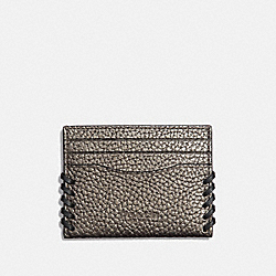 COACH F38028 Slim Card Case With Baseball Stitch METALLIC GUNMETAL/BLACK ANTIQUE NICKEL