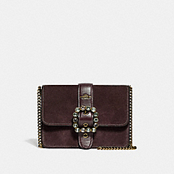 BOWERY CROSSBODY WITH JEWEL BUCKLE - F38048 - OXBLOOD 1/LIGHT GOLD