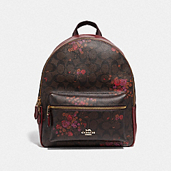 MEDIUM CHARLIE BACKPACK IN SIGNATURE CANVAS WITH FLORAL BUNDLE PRINT - F38049 - BROWN/METALLIC CURRANT/LIGHT GOLD