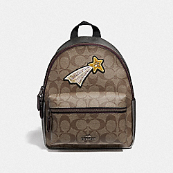 COACH F38059 - MINI CHARLIE BACKPACK IN SIGNATURE CANVAS WITH GLITTER PATCH KHAKI/GUNMETAL MULTI/BLACK ANTIQUE NICKEL