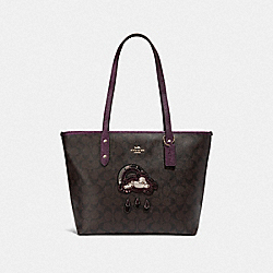 COACH F38060 City Zip Tote In Signature Canvas With Glitter Patch BROWN/METALLIC RASPBERRY MULTI/LIGHT GOLD