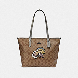 COACH F38060 City Zip Tote In Signature Canvas With Glitter Patch KHAKI/GUNMETAL MULTI/BLACK ANTIQUE NICKEL