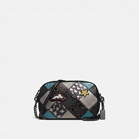 17d8b324cbad5 COACH F38062 ISLA CHAIN CROSSBODY WITH LUCKY STAR PATCHWORK BLACK  MULTI BLACK ANTIQUE NICKEL