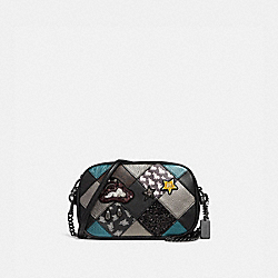 ISLA CHAIN CROSSBODY WITH LUCKY STAR PATCHWORK - F38062 - BLACK MULTI/BLACK ANTIQUE NICKEL