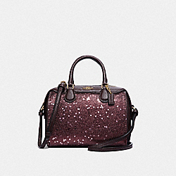 COACH F38063 - MICRO BENNETT SATCHEL WITH HEART GLITTER RASPBERRY/LIGHT GOLD
