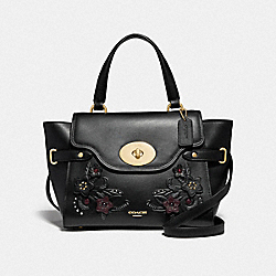 BLAKE FLAP CARRYALL WITH FLORAL TOOLING - F38065 - BLACK/MULTI/LIGHT GOLD