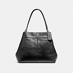 LEXY SHOULDER BAG WITH STUDDED DIAMOND QUILTING - F38068 - BLACK/LIGHT GOLD