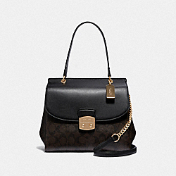 AVARY FLAP CARRYALL IN SIGNATURE CANVAS - F38069 - BROWN/BLACK/LIGHT GOLD