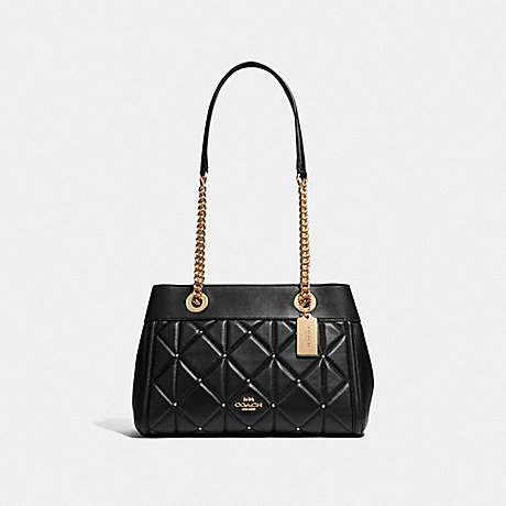 BROOKE CHAIN CARRYALL WITH STUDDED DIAMOND QUILTING - COACH F38071 - BLACK/LIGHT GOLD