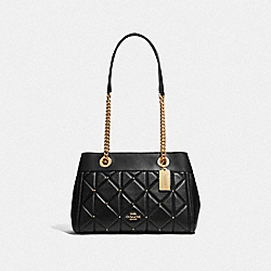 BROOKE CHAIN CARRYALL WITH STUDDED DIAMOND QUILTING - F38071 - BLACK/LIGHT GOLD
