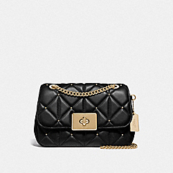 CASSIDY CROSSBODY WITH STUDDED DIAMOND QUILTING - F38074 - BLACK/LIGHT GOLD