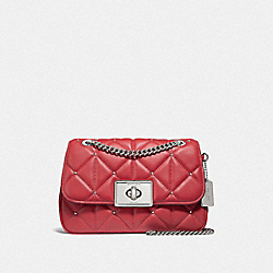 CASSIDY CROSSBODY WITH STUDDED DIAMOND QUILTING - F38074 - WASHED RED/SILVER