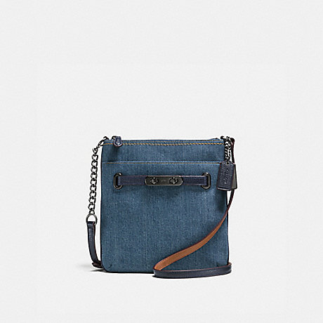 COACH F38076 COACH SWAGGER SWINGPACK DENIM/NAVY/DARK-GUNMETAL