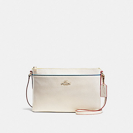 COACH f38079 JOURNAL CROSSBODY WITH EDGESTAIN CHALK/LIGHT GOLD