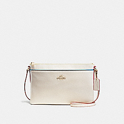 JOURNAL CROSSBODY IN EDGESTAIN LEATHER - f38079 - LIGHT GOLD/CHALK