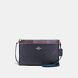 JOURNAL CROSSBODY WITH EDGESTAIN - f38079 - NAVY/LIGHT GOLD