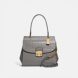 AVARY FLAP CARRYALL - F38086 - HEATHER GREY /LIGHT GOLD