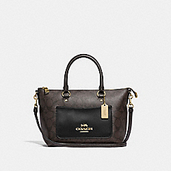 MINI EMMA SATCHEL IN SIGNATURE CANVAS - F38089 - BROWN/BLACK/IMITATION GOLD