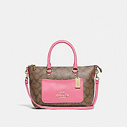MINI EMMA SATCHEL IN SIGNATURE CANVAS - F38089 - KHAKI/PINK RUBY/GOLD