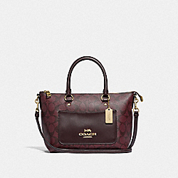 MINI EMMA SATCHEL IN SIGNATURE CANVAS - F38089 - OXBLOOD 1/LIGHT GOLD