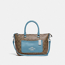 MINI EMMA SATCHEL IN SIGNATURE CANVAS - F38089 - KHAKI/CORNFLOWER/SILVER