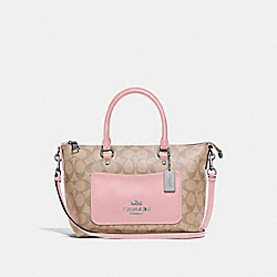 MINI EMMA SATCHEL IN SIGNATURE CANVAS - F38089 - LIGHT KHAKI/CARNATION/SILVER