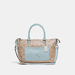 MINI EMMA SATCHEL IN SIGNATURE CANVAS - F38089 - LIGHT KHAKI/SEAFOAM/SILVER
