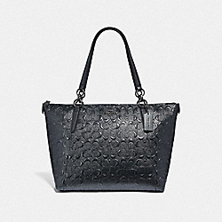 COACH F38091 - AVA TOTE IN SIGNATURE LEATHER CHARCOAL/BLACK ANTIQUE NICKEL
