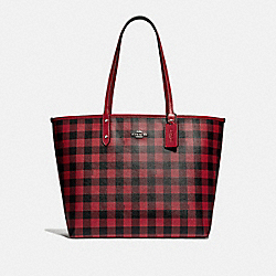 COACH F38094 Reversible City Tote With Gingham Print BLACK RUBY/RUBY/SILVER