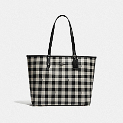 COACH F38094 Reversible City Tote With Gingham Print BLACK CHALK/BLACK/SILVER