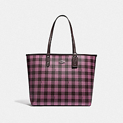 COACH F38094 Reversible City Tote With Gingham Print OXBLOOD PRIMROSE/OXBLOOD/SILVER