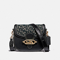 ELLE SADDLE BAG WITH CHAIN PRINT - F38111 - BLACK/LIGHT GOLD